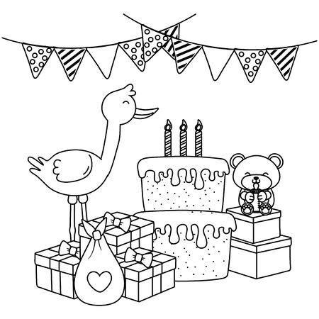 baby elements icon in black and white Illusztráció