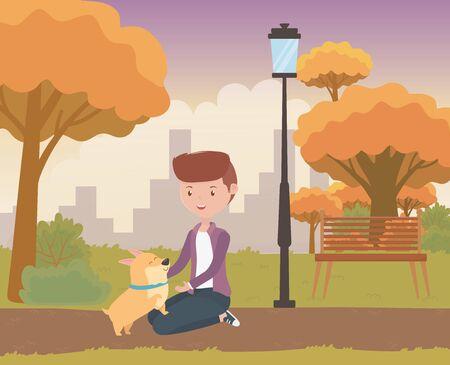 Boy with dog cartoon design Illustration