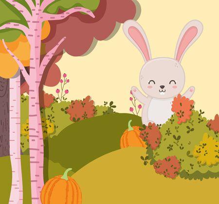 smiling rabbit with pumpkin forest in autumn Foto de archivo - 138255568