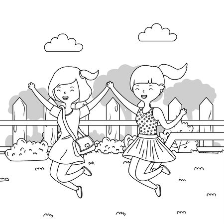 Teenager girls cartoon design