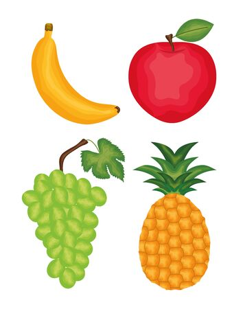 set of fresh tropical fruits icons