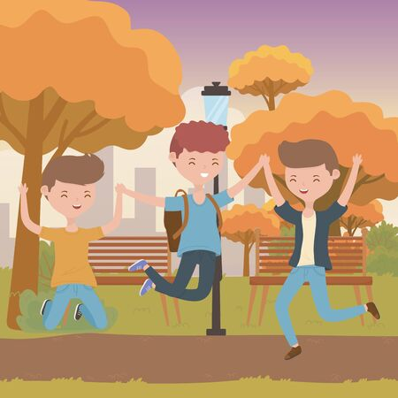 Teenager boys cartoons design Ilustrace