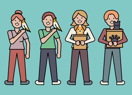 young people with adorable pets Illustration