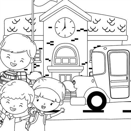 School building, kids and bus design