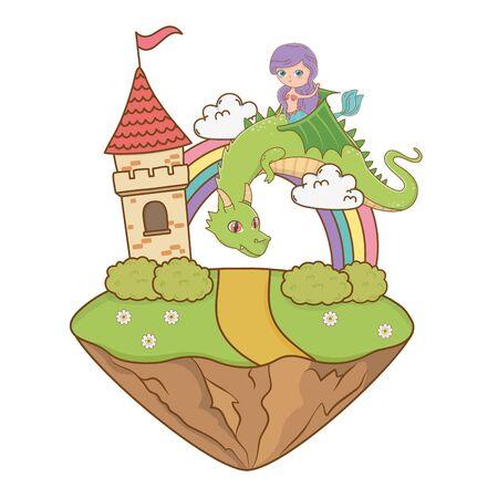 Mermaid and dragon of fairytale design illustration 向量圖像