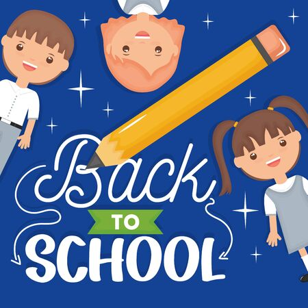 Cute little students with pencil. Back to school concept