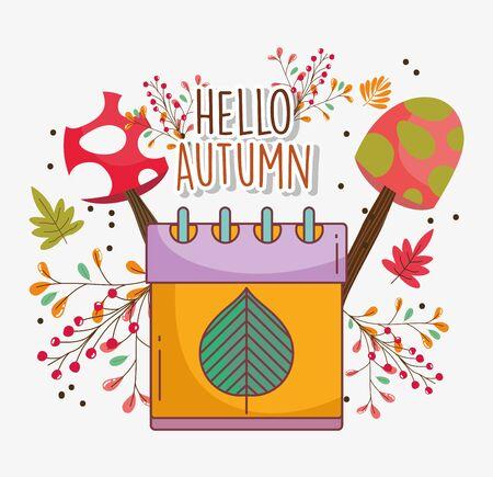 calendar leaf hello autumn design icon Foto de archivo - 138252488