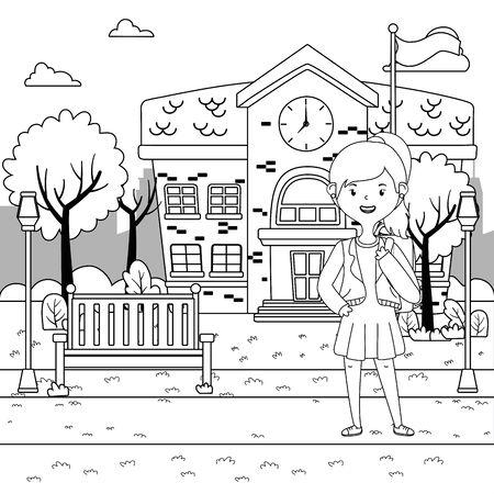 Girl cartoon of school design Çizim
