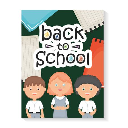 cute little students with back to school message
