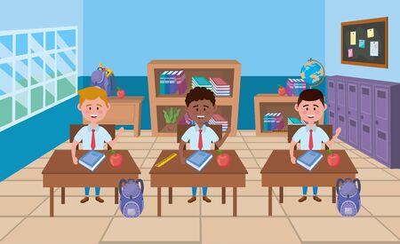 Boys in school classroom design Çizim