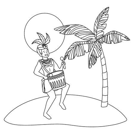 man celebrating brazil carnival in black and white