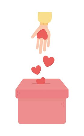 hand pushing hearts love in box charity and donation concept