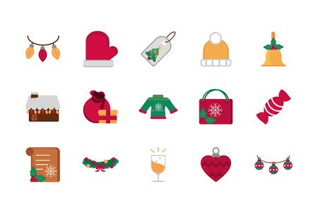 celebration decoration happy christmas icons collection Ilustração