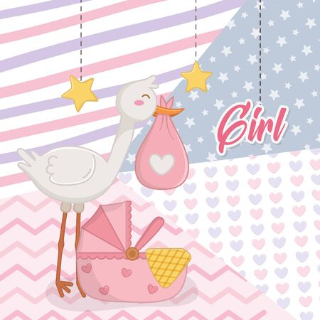 Baby shower of a girl design, Invitation party card decoration love celebrarion arribal and born theme Vector illustration