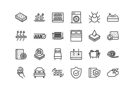 mattress comfortable soft textile icons set linear design vector illustration