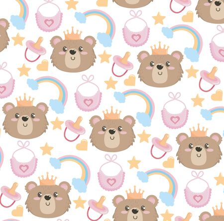 cute bear head with rainbow and bib background to baby shower vector illustration