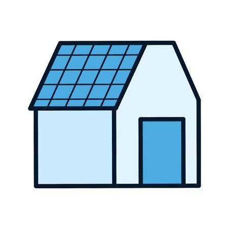 ecology renewable house with solar panel vector illustration Ilustracja