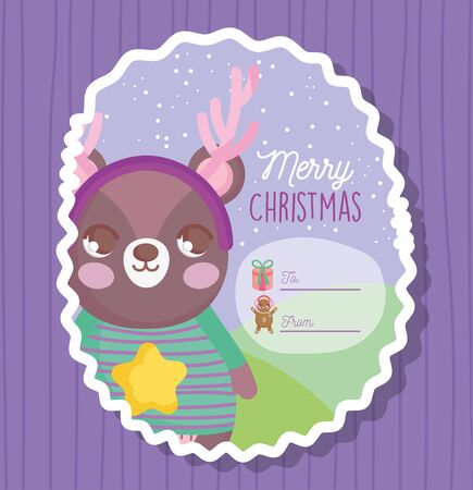 bear happy merry christmas tag 일러스트
