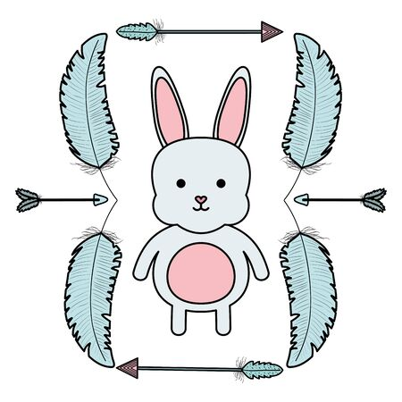cute little rabbit with feathers and arrows frame