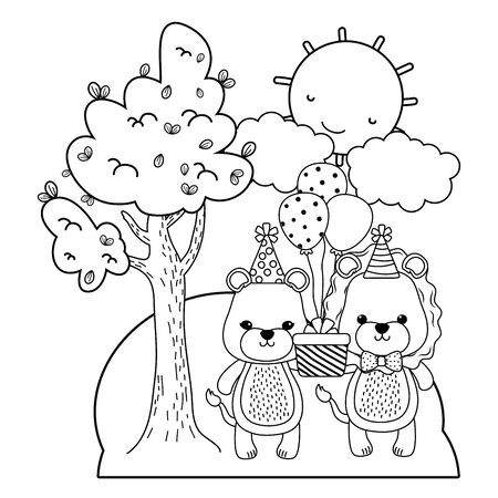 Lioness and lion with happy birthday icon design Stock Illustratie