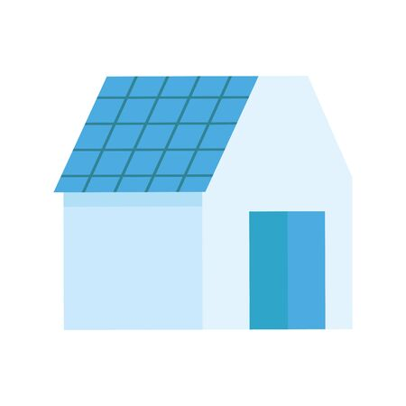 ecology renewable house with solar panel Ilustracja