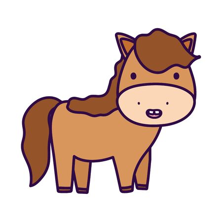 cute horse domestic farm animal cartoon vector illustration