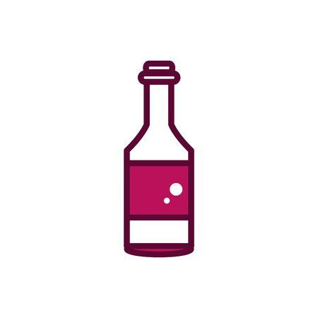 wine bottle cork liquor celebration drink beverage icon line and filled