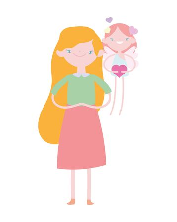 happy valentines day, cute girl and cupid with heart love romantic cartoon 向量圖像