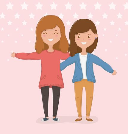 Girls cartoons design, Friendship together friends happy people and young theme Vector illustration Ilustrace