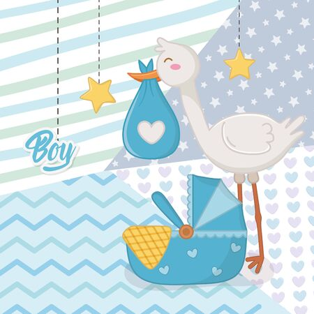 Baby shower of a boy design, Invitation party card decoration love celebrarion arribal and born theme Vector illustration