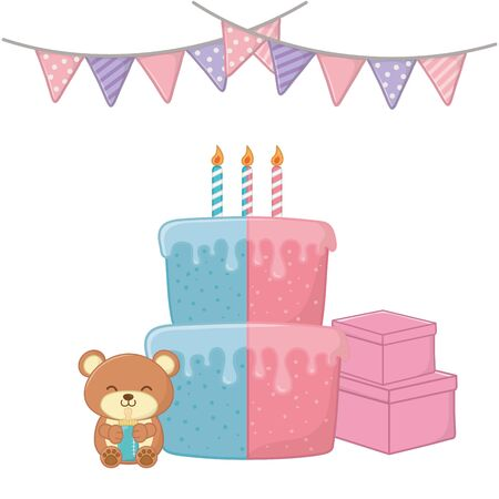 baby party elements birthday cake, candles, gift boxes, toy bear holding a feeding bottle and pendants Иллюстрация