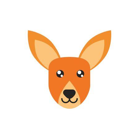 kangaroo head animal wildlife australia icon on white background vector illustration