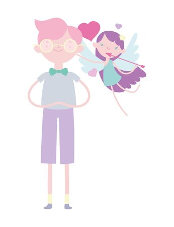 happy valentines day, cute young man with little cupid with arrow and hearts vector illustration 向量圖像