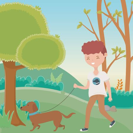 Boy with dog cartoon design, Mascot pet animal nature cute and puppy theme Vector illustration Illustration