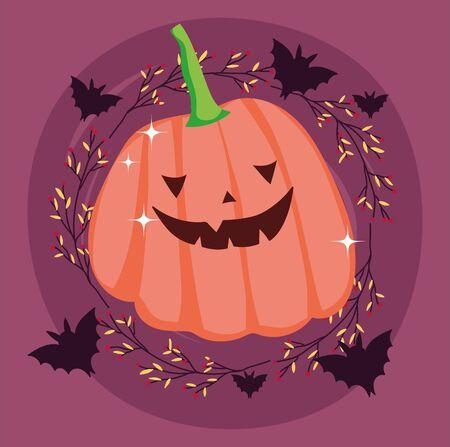 pumpkin bats leaves cartoon trick or treat - happy halloween Ilustracja