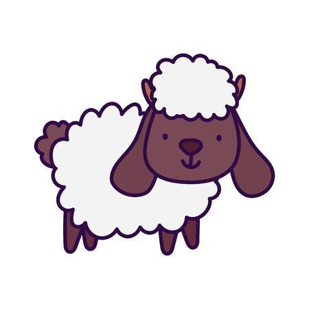 Ilustración de vector de dibujos animados de animales de granja de ovejas lindo
