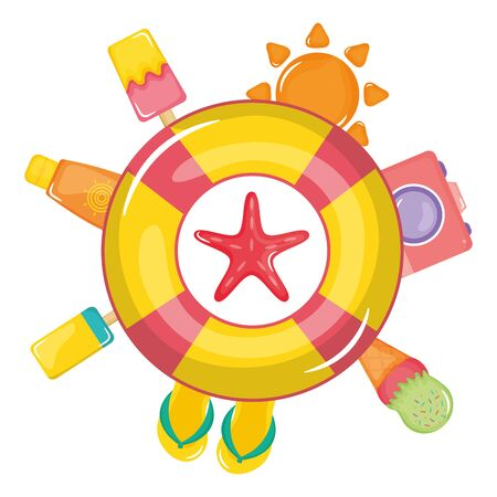 float lifeguard with summer icons around vector illustration design