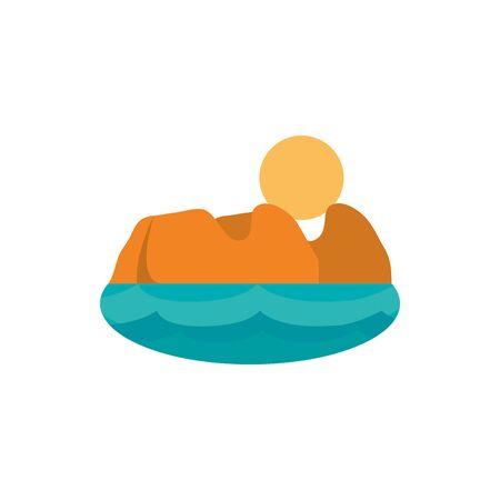 landscape sun mountain sea australia icon on white background vector illustration Иллюстрация