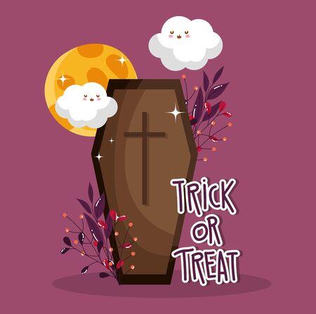 coffin trick or treat - happy halloween vector illustration Ilustracja