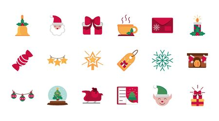 celebration decoration happy christmas icons collection vector illustration