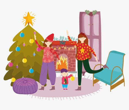 women and little boy living room with tree chimney sofa merry christmas, happy new year vector illustration