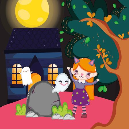 girl cat costume and ghosts house night halloween image vector illustration