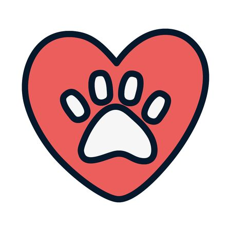 adoption heart love paw animal print campaign vector illustration