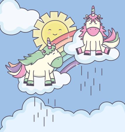 cute adorable unicorns with clouds rainy and rainbow characters vector illustration Ilustração