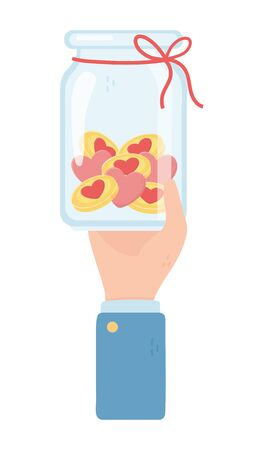 hand holding jar with coin hearts charity and donation concept vector illustration