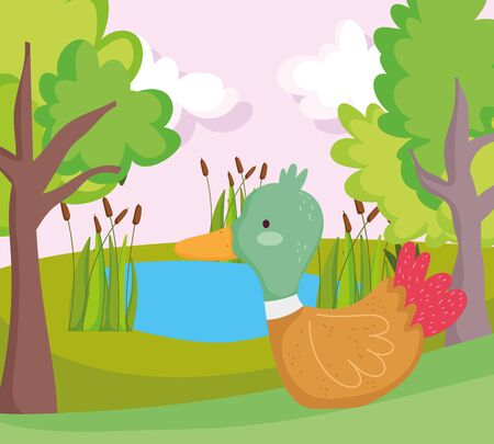 duck lake plants greenery trees farm animal cartoon vector illustration