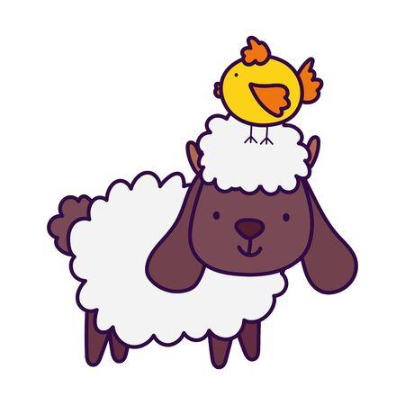 sheep with chick in head farm animal cartoon vector illustration Ilustração