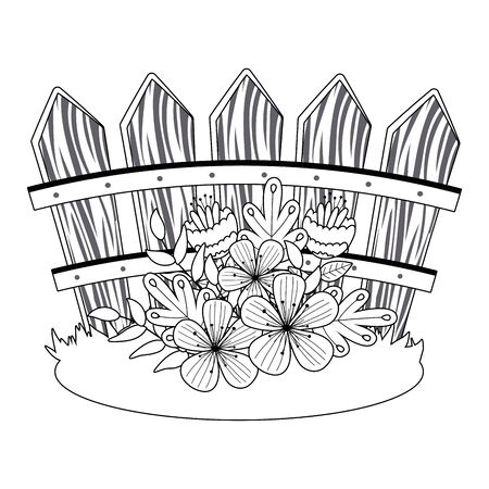 Flowers in front of fence design, floral nature plant ornament garden decoration and botany theme Vector illustration