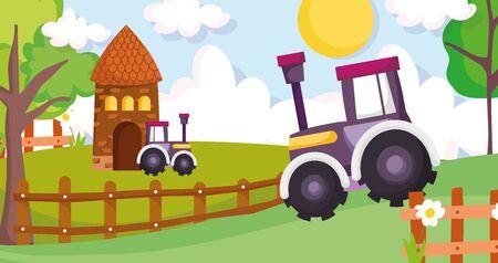 cottage tractors wooden fence flowers trees farm animal cartoon vector illustration Ilustração