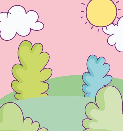 landscape bushes meadow sky clouds sun cartoon vector illustration